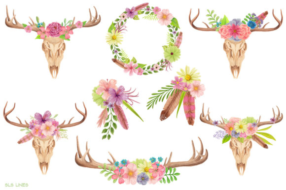 Print on Demand: Skull & Deer Antlers Watercolor Clipart Graphic Illustrations By SLS Lines - Image 2