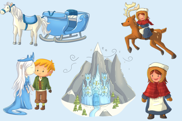 Print on Demand: Snow Queen Clip Art Collection Graphic Illustrations By Keepinitkawaiidesign - Image 3