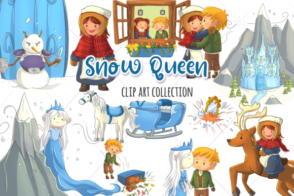 Print on Demand: Snow Queen Clip Art Collection Graphic Illustrations By Keepinitkawaiidesign - Image 1