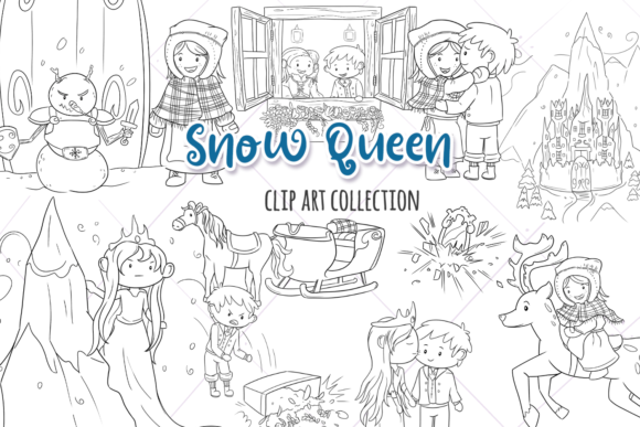 Print on Demand: Snow Queen Digital Stamps Graphic Illustrations By Keepinitkawaiidesign