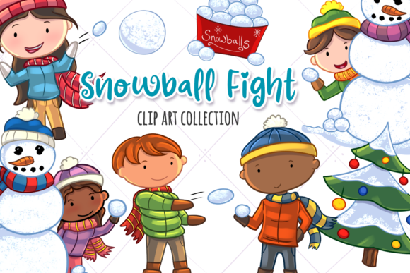 Download Free Snowball Fight Winter Clip Art Graphic By Keepinitkawaiidesign for Cricut Explore, Silhouette and other cutting machines.