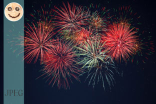 Print on Demand: Sparkling Red Green Yellow Fireworks Graphic Holidays By TasiPas