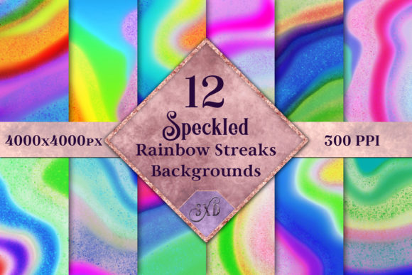Print on Demand: Speckled Rainbow Streaks Backgrounds Graphic Backgrounds By SapphireXDesigns