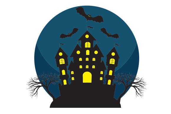 Spooky Castle with Bats Halloween Craft Cut File By Creative Fabrica Crafts