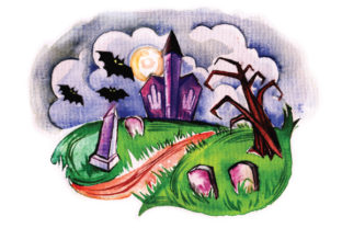 Spooky Cemetary in Watercolor Halloween Craft Cut File By Creative Fabrica Crafts