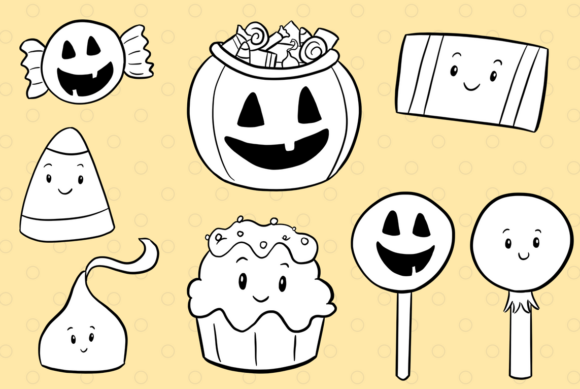 Print on Demand: Spooky Sweets Digital Stamps Graphic Illustrations By Keepinitkawaiidesign - Image 3