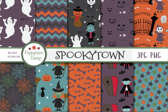 Print on Demand: Spookytown Paper Graphic Patterns By poppymoondesign - Image 1
