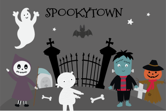 Print on Demand: Spookytown Graphic Illustrations By poppymoondesign