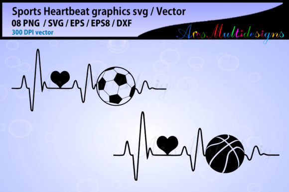 Print on Demand: Sports Ball Heartbeat Bundle Graphic Illustrations By Arcs Multidesigns - Image 2