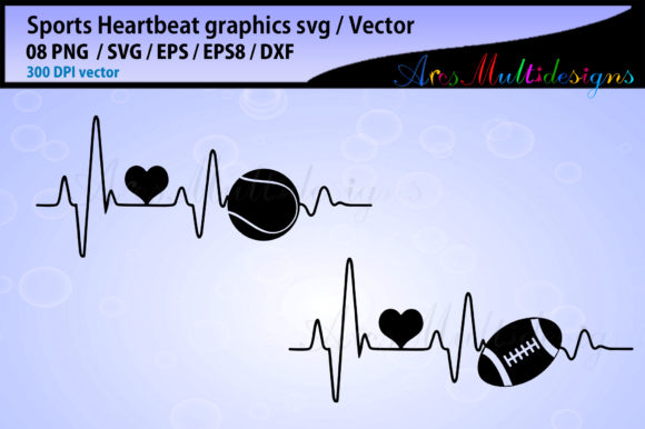 Print on Demand: Sports Ball Heartbeat Bundle Graphic Illustrations By Arcs Multidesigns - Image 3