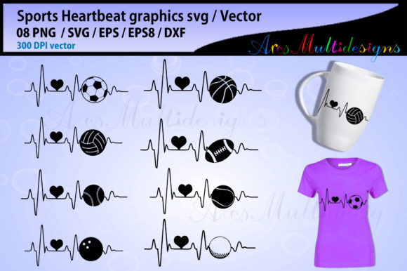 Print on Demand: Sports Ball Heartbeat Bundle Graphic Illustrations By Arcs Multidesigns - Image 1