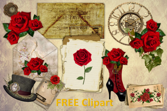 Steampunk Backgrounds with Free Clipart