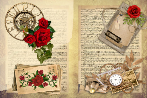 Print on Demand: Steampunk Backgrounds with Free Clipart Graphic Crafts By The Paper Princess - Image 4