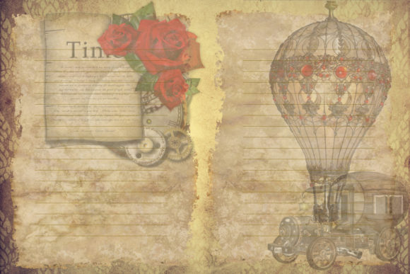 Print on Demand: Steampunk Backgrounds with Free Clipart Graphic Crafts By The Paper Princess - Image 5