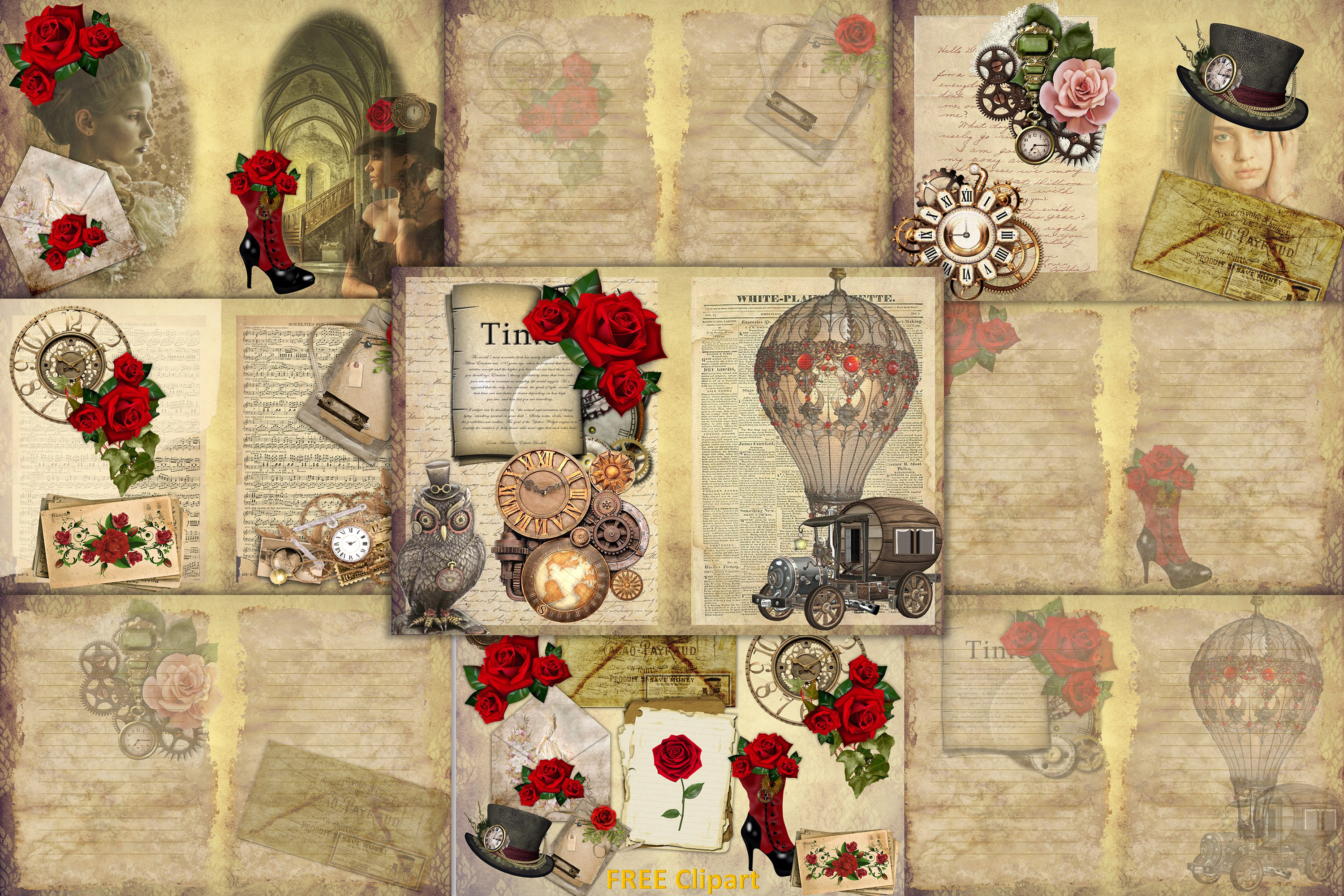 Download Free Steampunk Backgrounds With Free Clipart Grafik Von The Paper for Cricut Explore, Silhouette and other cutting machines.