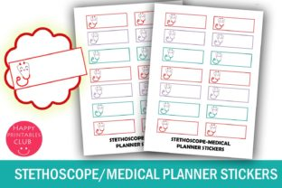 Stethoscope Planner Stickers-Medical Graphic By Happy Printables Club