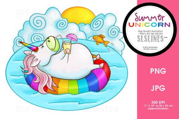 Download Free Summer Floating Unicorn Graphic By Sls Lines Creative Fabrica for Cricut Explore, Silhouette and other cutting machines.