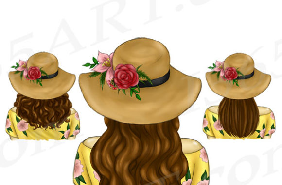 Download Free Summer Hats Brunette Hair Graphic By Deanna Mcrae Creative Fabrica for Cricut Explore, Silhouette and other cutting machines.