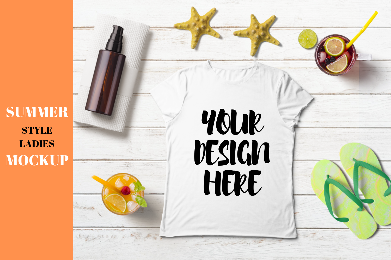 Download Free Summer Style Ladies Flat T Shirt Mock Up Graphic By Mockup Venue for Cricut Explore, Silhouette and other cutting machines.