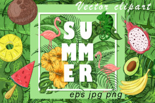Summer Vector Clipart and Pattern Graphic By InkandBrush