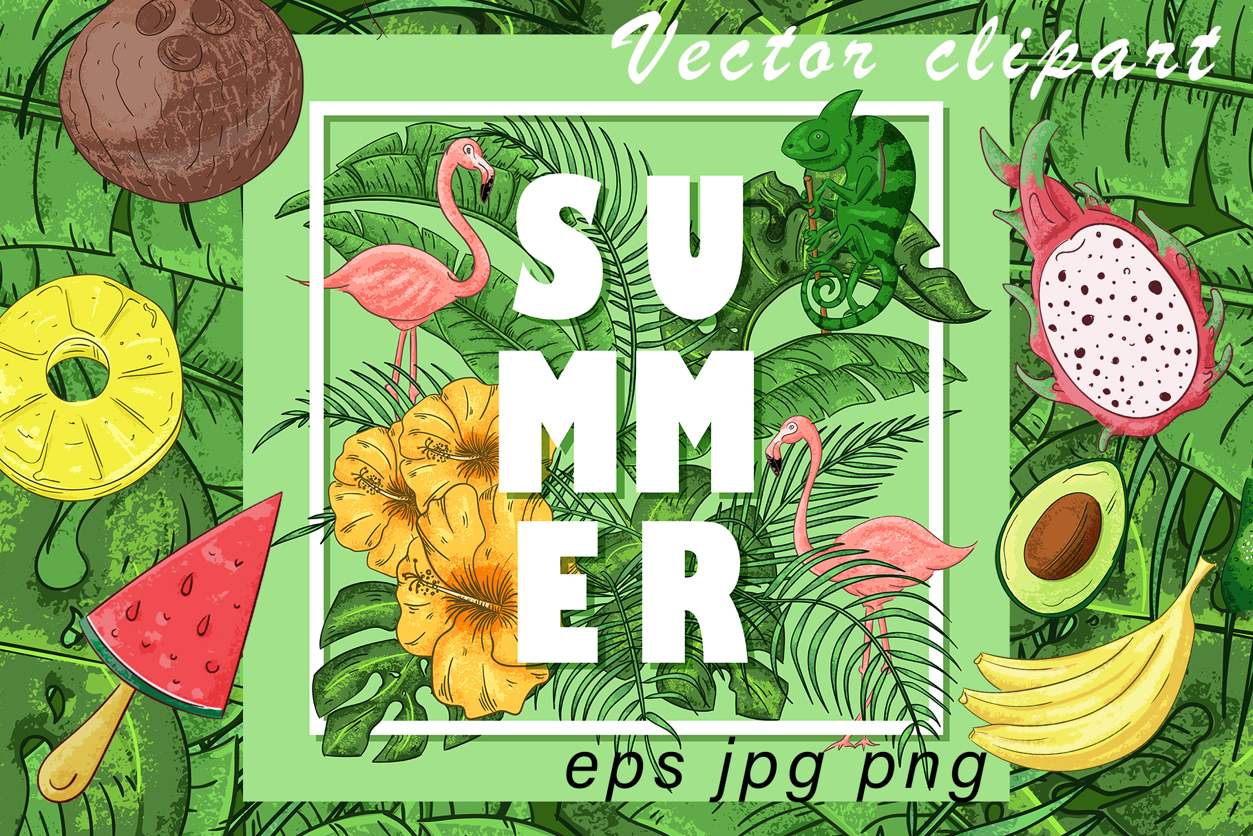 Download Free Summer Vector Clipart And Pattern Graphic By Gennadii Art for Cricut Explore, Silhouette and other cutting machines.