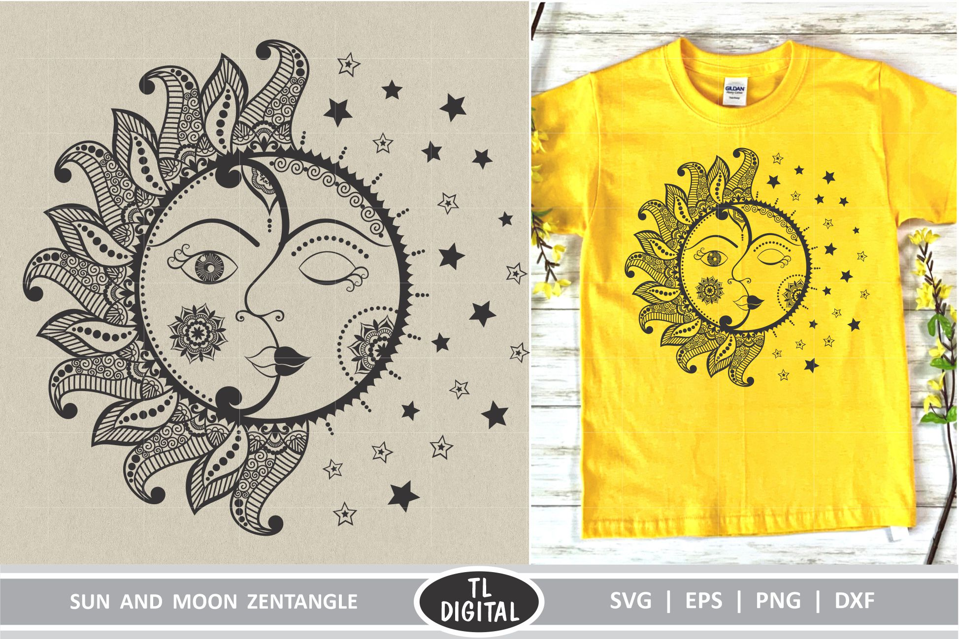 Download Free Sun And Moon Zentangle Design Mandala Graphic By Tl Digital for Cricut Explore, Silhouette and other cutting machines.