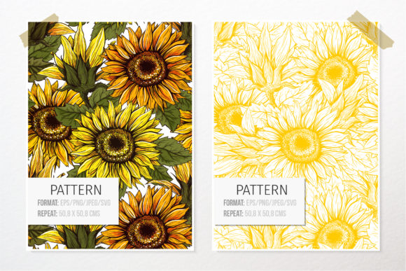 Sunflower Patterns Collection Graphic Patterns By ilonitta.r - Image 2