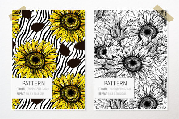 Sunflower Patterns Collection Graphic Patterns By ilonitta.r - Image 3
