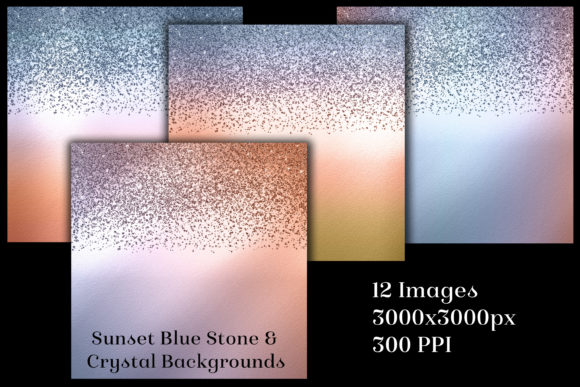 Print on Demand: Sunset Blue Stone & Crystal Backgrounds Graphic Backgrounds By SapphireXDesigns - Image 2