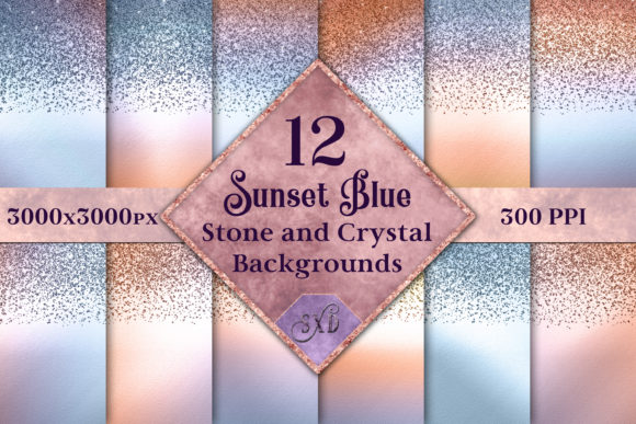Print on Demand: Sunset Blue Stone & Crystal Backgrounds Graphic Backgrounds By SapphireXDesigns