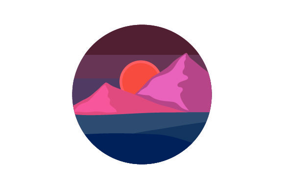 Download Free Sunset Mountain Scene Svg Cut File By Creative Fabrica Crafts for Cricut Explore, Silhouette and other cutting machines.