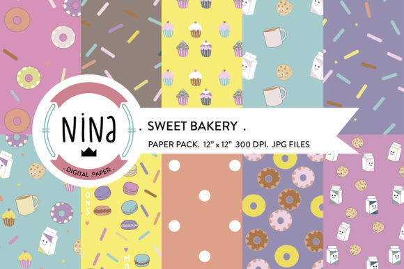 Download Free Sweet Digital Paper Pack Cupcake Papers Graphic By Nina Prints for Cricut Explore, Silhouette and other cutting machines.