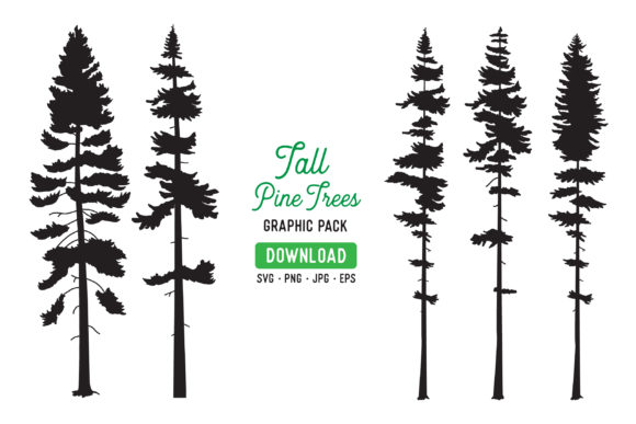 Print on Demand: Tall Pine Tree Vector Graphic Bundle Graphic Illustrations By The Gradient Fox