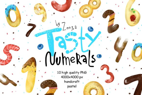 Print on Demand: Tasty Numerals - 10 Illustrations Graphic Illustrations By Zooza Art