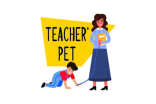 Teacher Holding Leash with Child on All Fours Smiling - Back to School Craft Design By Creative Fabrica Crafts