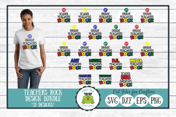 Teachers Rock Design Bundle Graphic Crafts By funkyfrogcreativedesigns