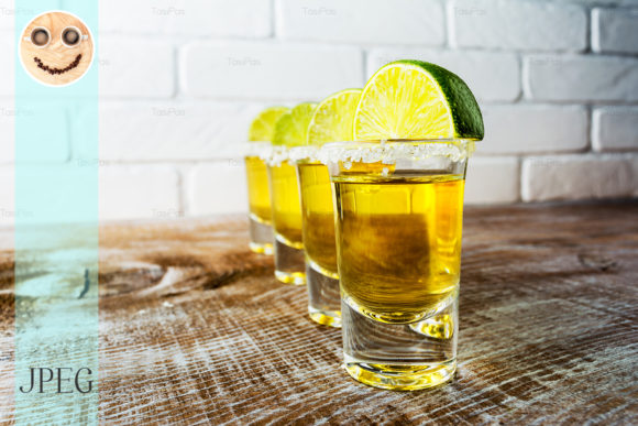 Print on Demand: Tequila Shots on the Rustic Wooden Table Graphic Food & Drinks By TasiPas