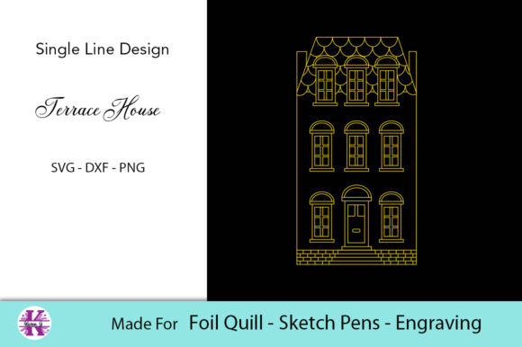 Print on Demand: Terrace House SVG for Foil Quill Graphic Crafts By Karen J - Image 1
