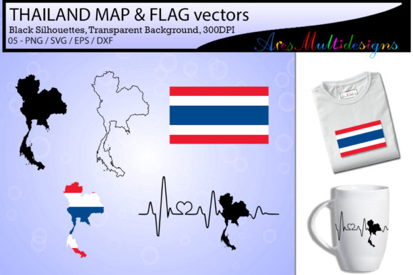 Print on Demand: Thailand Map SVG / Thailand Flag SVG Graphic Illustrations By Arcs Multidesigns - Image 1