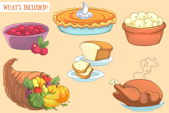 Print on Demand: Thanksgiving Feast Clip Art Collection Graphic Illustrations By Keepinitkawaiidesign - Image 2