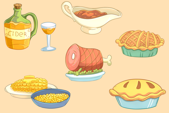 Print on Demand: Thanksgiving Feast Clip Art Collection Graphic Illustrations By Keepinitkawaiidesign - Image 3