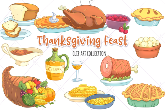 Print on Demand: Thanksgiving Feast Clip Art Collection Graphic Illustrations By Keepinitkawaiidesign