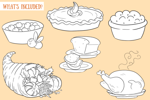 Print on Demand: Thanksgiving Feast Digital Stamps Graphic Illustrations By Keepinitkawaiidesign - Image 2
