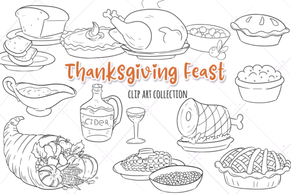 Print on Demand: Thanksgiving Feast Digital Stamps Graphic Illustrations By Keepinitkawaiidesign - Image 1