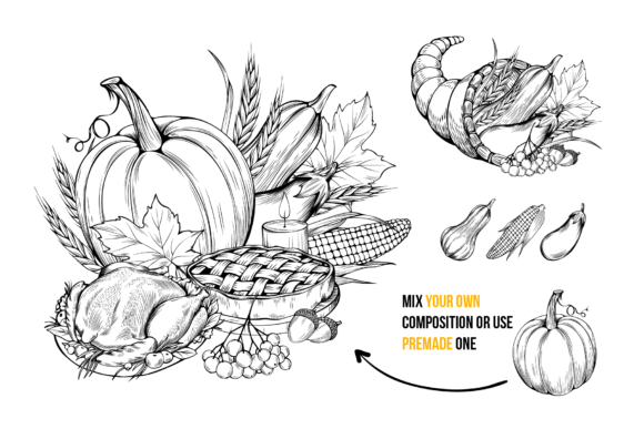 Thanksgiving Graphics Collection Graphic Objects By ilonitta.r - Image 2