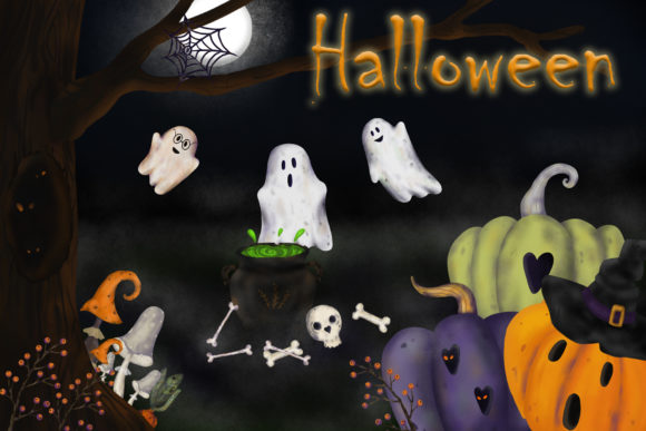 Print on Demand: The Hand-drawn Elements for Halloween Graphic Illustrations By VashaRisovasha