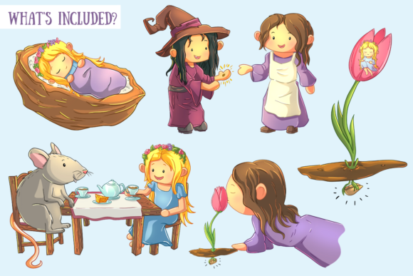 Print on Demand: Thumbelina Clip Art Collection Graphic Illustrations By Keepinitkawaiidesign - Image 2
