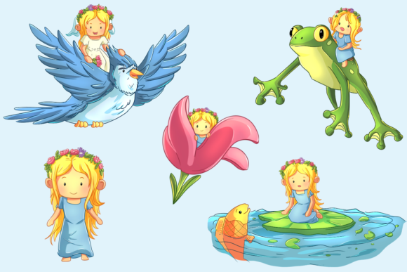 Print on Demand: Thumbelina Clip Art Collection Graphic Illustrations By Keepinitkawaiidesign - Image 3