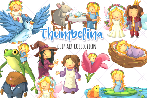 Print on Demand: Thumbelina Clip Art Collection Graphic Illustrations By Keepinitkawaiidesign