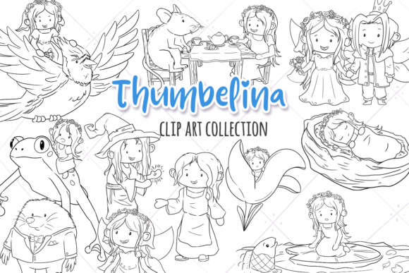 Print on Demand: Thumbelina Digital Stamps Graphic Illustrations By Keepinitkawaiidesign - Image 1